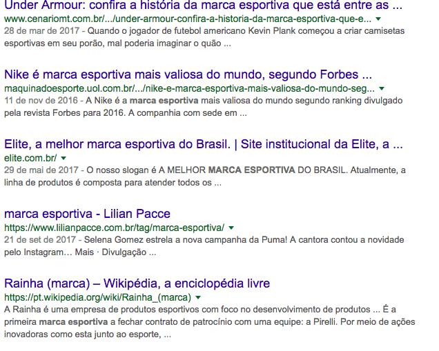 Busca de marca esportiva no Google