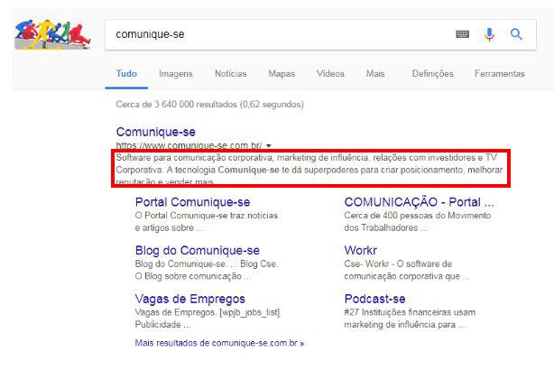 Comunique-se pesquisa Google