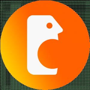 Símbolo do bocão em branco com fundo laranja. Silhueta de uma cabeça quadrada com a boca aberta.